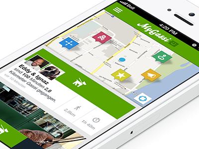 MyGassi iPhone App ui design flat