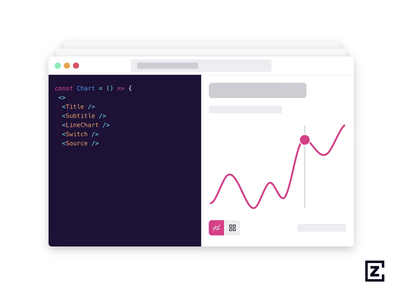 Code design split screen visual animation line chart line coding code pink svg design