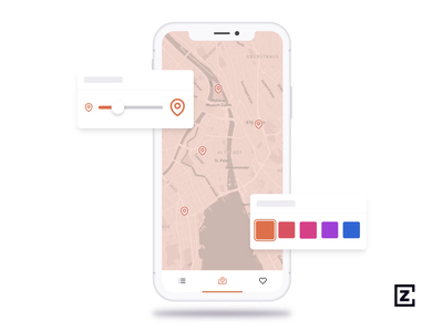 Preview of device animation orange purple data visualization maps animation map blue pink design ux ui mockup iphone x iphone