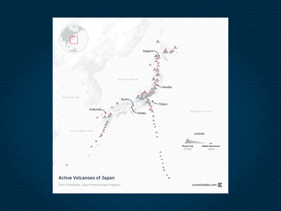 Active volcanoes of Japan gray white navy blue cartography map dataviz waves japan volcanoes