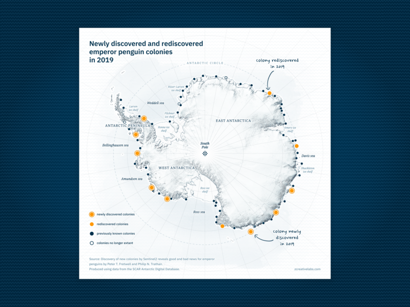 Newly discovered and rediscovered emperor penguin colonies ui data visualization svg cartography blue penguin map design