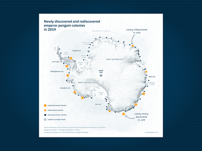 Newly discovered and rediscovered emperor penguin colonies yellow handwritten type antarctica vector ui data visualization svg cartography blue penguin map design