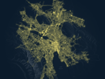 Visualising all public lighting in the city of Zurich vector geography d3 mapping city lights dark ui map data visualization maps cartography svg design
