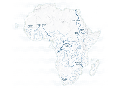 Major rivers of Africa vector geography d3 data visualization design blue maps cartography mapping map svg