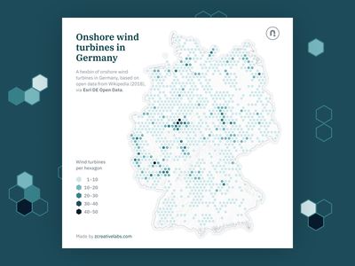 Distribution of onshore wind turbines in Germany teal vector hexagon d3 geography blue maps cartography mapping map svg design
