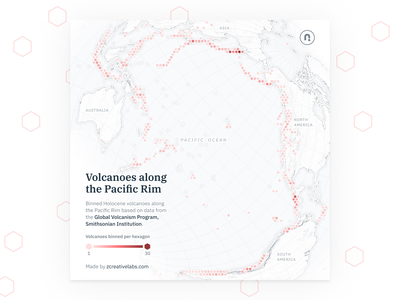 Holocene volcanoes along the Pacific Rim red typeface type vector volcanoes hexagon geography data visualization cartography mapping map svg design