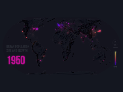 Visualising 70 years of urban population size and growth dark mode dark ui purple maps data visualization d3 svg pink mapping geography blue animation design