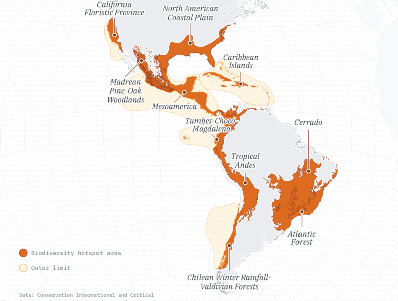 A map of biodiversity hotspots in the Americas data visulization maps orange data viz cartography map design