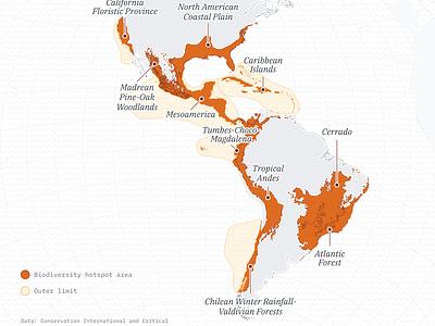 A map of biodiversity hotspots in the Americas data visulization maps orange data viz cartography map design