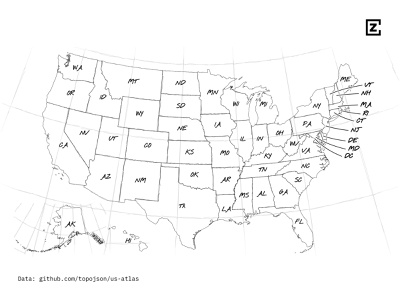 Black and white map of the USA with state labels pencil sketch maps design mapping svg blackandwhite white black