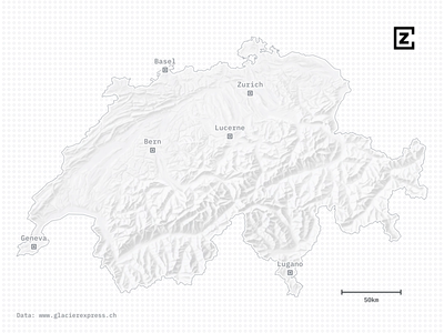 A map of the Glacier Express through the Swiss Alps