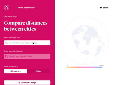 Distance map gradient ui geography data visualization d3 pink cartography mapping svg design