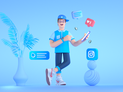 BlueReceipt Guy design setdesign illustration artdirection 3d art