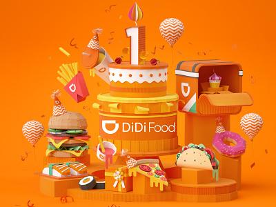 Didi Fodd Anniversary design animation setdesign illustration artdirection 3d art