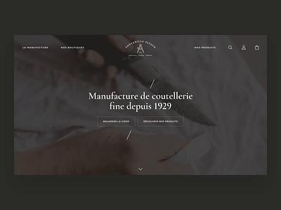 Expand e-commerce menu cutlery website knife product desktop e-commerce ecommerce ux uiux menu principle animation motion ui