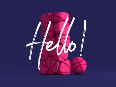 Hello Dribbble collision first shot script pink cinema 4d c4d soft body 3d monolith ball hello dribbble dribbble hello