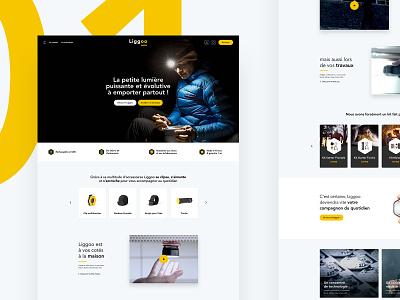 Liggoo - Homepage shop ux clean light headlamp lamp yellow homepage website ecommerce home desktop ui