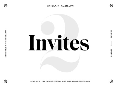 2 Dribbble Invites giveaway free invite typogaphy serif black and white invite invites dribbble