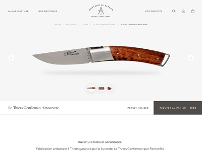 Knife product page motion scroll 3d cutlery knife minimal website desktop ui ecommerce product page