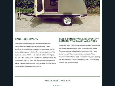 Twin Spruce Campers Website website squarespace logo