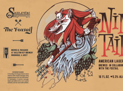 Kitsune - American Lager design can art brewery beer label beer art beer illustration