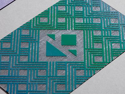 Silk Screen Business Card screen silk cubic cube geometry logo print typography pattern card business