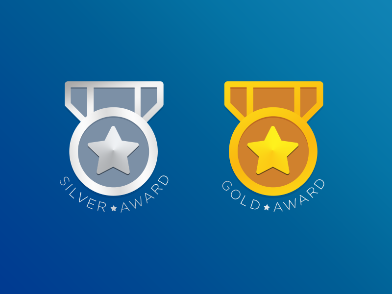 Silver & Gold Badge top app web illustration ui award gold silver badge