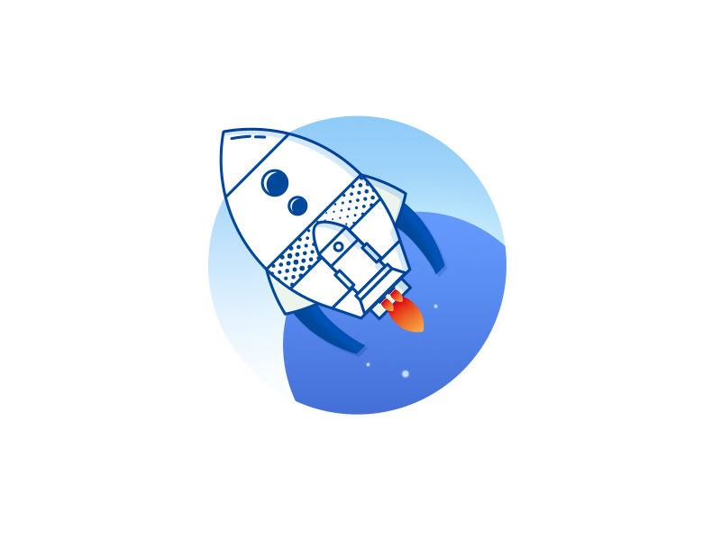 Nest-Rocket Launching onboard clean cosmos planet illustration app web space rocket