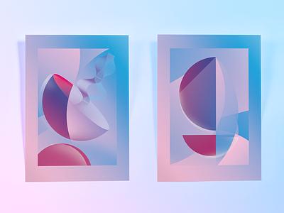 Discover Composition illustration minimal discover gradient colour shape form poster