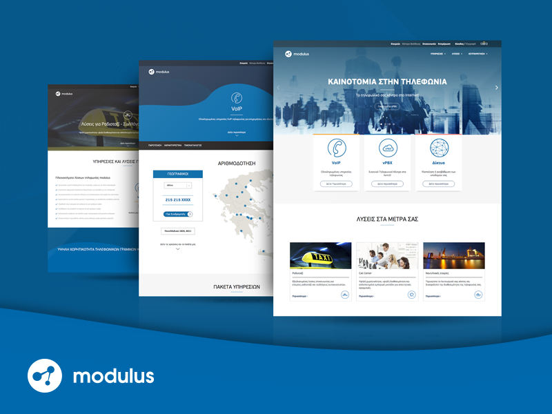 Modulus Website telecommunication. corporate cards responsive ux ui webdesign page landing website