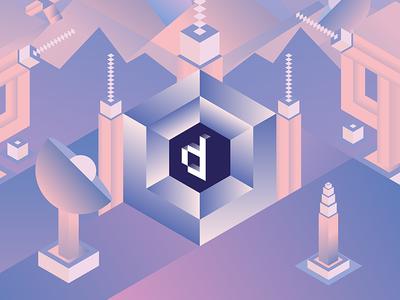 Digitized 2016 identity visual futuristic cube pastel pantone space illustration conference design digital digitized