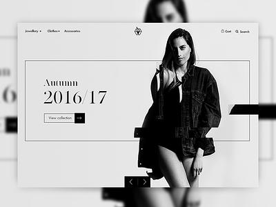 Fashion Shop Slider minimal white black carousel slider ui landing page fasion eshop editorial