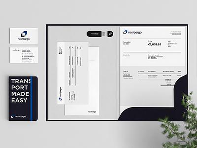 Nestcargo Brand Identity stationary invoice cards corporate branding logo freight cargo identity brand