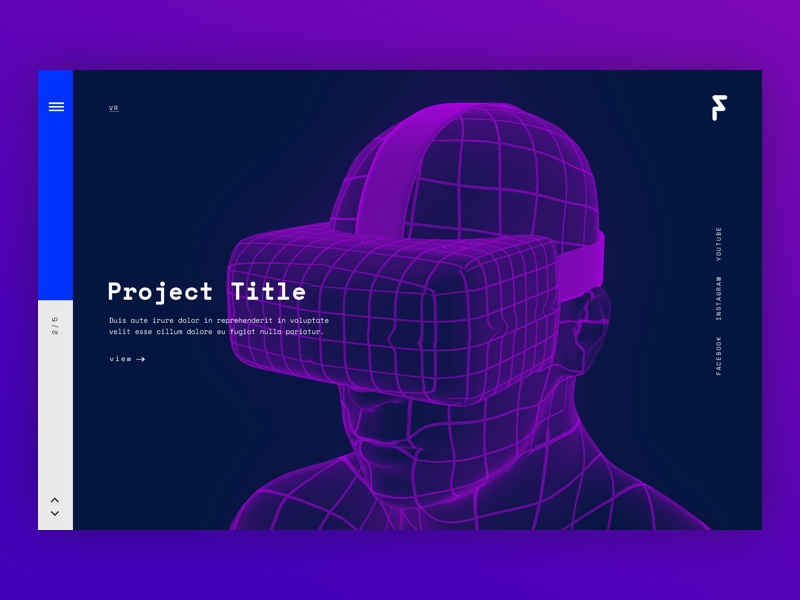 Fluid Landing layout website vivid vr tech minimal tiles grid web landing