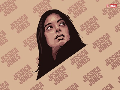 Jessica Jones vectorportrait face illustration netflix defenders marvel jessica jones