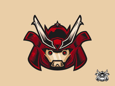 Robot Samurai sticker logo illustration samurai robot