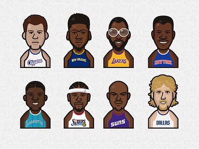 Basketball Player illustration vector davis griffin worthy barkley johnson ewing iverson nowitzki