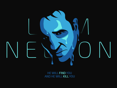 Liam Neeson clean blue face neeson liam illustration illustrator