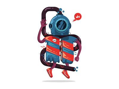 Diver in trouble krono illu krono characterdesign illustration diver