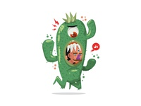 Cactus Trapped Man