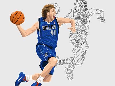 Dirk Nowitzki #41 nowitzki 41 nba basketball sportillustration illustration dallas mavericks dirk nowitzki