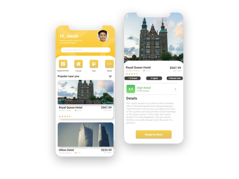 Hotel App Design logo animation illustration branding illustrator website web ux ui design app