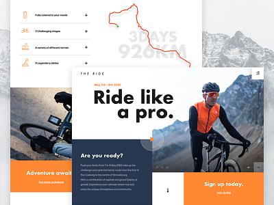 The Ride | Concept Design ux web bicycle sketchapp landing page webdesign ui