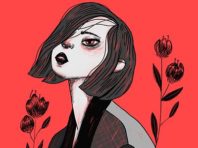 Dark Days flowers girl red black color digitalillustration digitaldraw illustration