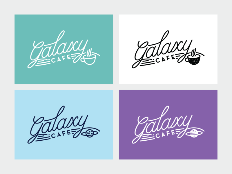 Galaxy Cafe Logo Exploration adobe illustrator cafe branding space lover hipster typography galaxy galaxy cafe space art retro branding branding logo logodesign