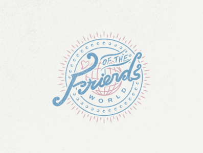 Friends of the World Logo Badge austin texas typography branding illustration handlettering logotype friends of the world hand drawn retro badge badge logo logodesign