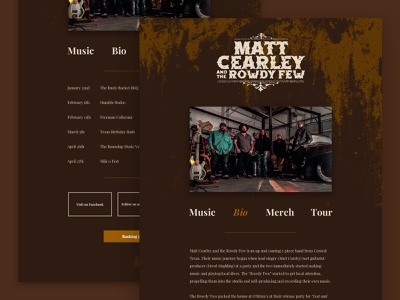 MC&RF Website Design & Development homepage playlist radio texas country music rebel uiux ui website design country musician music band website
