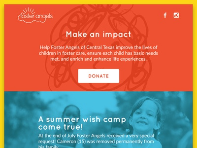 Foster Angels Donation Page ux kids giving web design ui page landing clean simple donate donation
