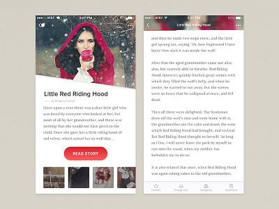 Reading App Exploration  navigation mobile story ebook book article app reading ux ui clean