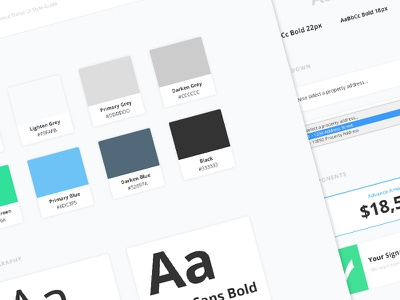 UI Style Guide cards card dropdown brand guide ui interface style guide style tile typography fonts colors